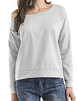cheap -Women's Daily Casual Spring T-shirt,Solid Off Shoulder Long Sleeve Cotton