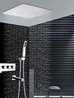 cheap -Contemporary Wall Installation Rain Shower Handshower Included Ceramic Valve Four Handles Four Holes Chrome, Shower Faucet