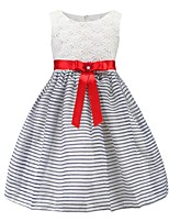 cheap -Girl's Daily Going out Solid Striped Print Dress,Cotton Spring, Fall, Winter, Summer All Seasons Sleeveless Cute Active Princess White