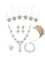 cheap -Women's Chain Bracelet Bridal Jewelry Sets Rhinestone Fashion European Wedding Party Imitation Pearl Imitation Diamond Alloy Flower Body