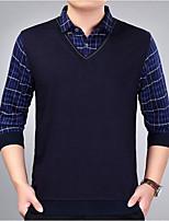 Недорогие -Для мужчин Повседневные На каждый день Обычный Пуловер С принтом,Рубашечный воротник Длинный рукав Полиэстер Все сезоны Тонкая Эластичная