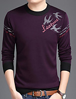 cheap -Men's Casual/Daily Sweatshirt Print Round Neck Micro-elastic Polyester Long Sleeves Fall