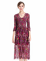 cheap -8CFAMILY Women's Party Boho Loose Dress,Floral V Neck Midi Half Sleeve Polyester Spring Summer Mid Rise Stretchy Thin