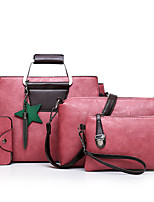 cheap -Women's Bags PU 4 Pieces Purse Set Zipper for Shopping Casual All Seasons Black Red Blushing Pink Gray Khaki