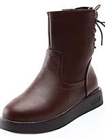 Недорогие -Для женщин Обувь Полиуретан Зима Удобная обувь Модная обувь Ботинки На плоской подошве Круглый носок Сапоги до середины икры для