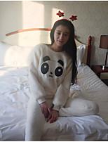 abordables -Costumes Pyjamas Femme,Motif Animal Epais Laine Beige