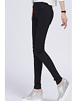 cheap -Women's Polyester Medium Solid Color Legging,Solid Striped Black