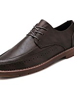 cheap -Men's Shoes PU Spring Fall Comfort Oxfords for Casual Black Brown Khaki