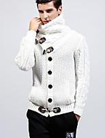 preiswerte -Herren Standard Strickjacke-Ausgehen Solide Rollkragen Langarm Polyester Winter Herbst Dick Mikro-elastisch