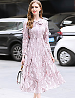 cheap -BlueSkyButterfly Women's Daily Going out Vintage Sophisticated Lace Midi Dress,Solid Color Lace Cowl Neck Long Sleeve Spring High Waist