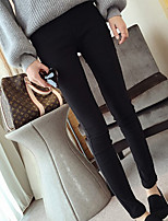 cheap -Women's Oversized Polyester Thin Solid Color Legging,Solid Black
