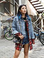 baratos -Feminino Jaqueta jeans Diário Vintage Primavera,Sólido Padrão Poliéster Colarinho de Camisa Manga Comprida