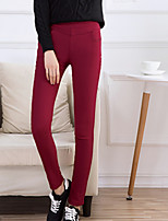 cheap -Women's Pure Color Polyester Opaque Solid Color Legging,Solid Wine Navy Blue Black Blue