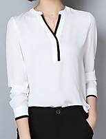 cheap -Women's Daily Casual Fall Blouse,Solid V Neck Long Sleeve Polyester Opaque