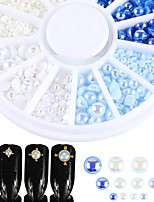 cheap -Glitter Pearls Nail Jewelry Fashionable Jewelry Sparkle Glam Light Blue Royal Blue Pattern White Nail Art Design