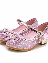 cheap -Girls' Shoes Sparkling Glitter Spring Fall Comfort Flower Girl Shoes Tiny Heels for Teens Heels for Casual Pink Purple