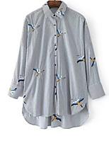 cheap -Women's Daily Casual Shirt,Houndstooth Shirt Collar Long Sleeve Cotton