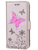 cheap -Case For Apple iPhone 8 iPhone 8 Plus Card Holder Flip Embossed Pattern Full Body Butterfly Glitter Shine Hard PU Leather for iPhone X
