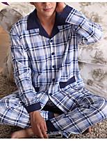 abordables -Costumes Pyjamas Homme,Fleur Moyen Polyester Bleu Vin