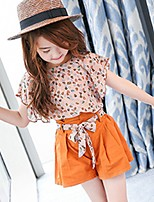 cheap -Girls' Daily Solid Print Clothing Set,Cotton Summer ½ Length Sleeve Casual Orange