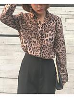 cheap -Women's Casual/Daily Cute Shirt,Leopard Shirt Collar Long Sleeves Cotton
