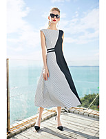 cheap -Women's Daily Simple Sheath Midi Dress, Striped Round Neck Short Sleeves