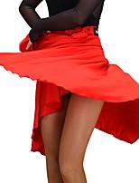Недорогие -Латино Нижняя часть Жен. Концертная обувь Молочное волокно Плиссировка Без рукавов Средняя талия Юбки