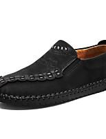 Недорогие -Муж. обувь Кожа Весна Осень Удобная обувь Мокасины и Свитер для Повседневные Черный Желтый Хаки