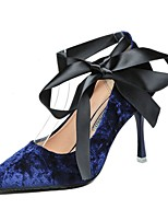 cheap -Women's Shoes Velvet Spring Comfort Heels Stiletto Heel Pointed Toe for Casual Blue Black