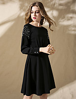 cheap -Women's Party Holiday Sophisticated Street chic Loose Above Knee Dress, Solid Beaded Round Neck Long Sleeves