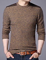 Недорогие -Для мужчин Повседневные На каждый день Обычный Пуловер Однотонный Контрастных цветов,Круглый вырез Длинный рукав Полиэстер Все сезоны
