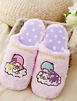 Недорогие -Жен. Обувь Флис Весна Осень Удобная обувь Тапочки и Шлепанцы На низком каблуке для Повседневные Лиловый Розовый