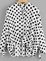 cheap -Women's Daily Simple Spring Summer Blouse,Polka Dot Round Neck Long Sleeve Cotton