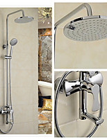 cheap -Wall Mounted Waterfall Rain Shower Handshower Included Ceramic Valve Single Handle Two Holes Chrome, Shower Faucet