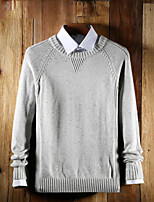 cheap -Men's Daily Casual Solid Color Round Neck Sweater Pullover, Long Sleeves Spring Fall Rayon