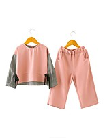 cheap -Girls' Daily Solid Clothing Set, Cotton Polyester Spring Long Sleeves Casual Blushing Pink