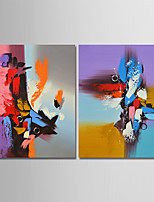 cheap -Hand-Painted Abstract Vertical, Comtemporary Simple Modern Canvas Oil Painting Home Decoration Two Panels