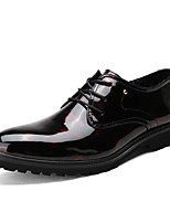 cheap -Men's Shoes Patent Leather Spring Fall Comfort Oxfords for Casual Party & Evening Black Red