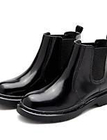 Недорогие -Для женщин Обувь Полиуретан Весна Осень Удобная обувь Ботильоны Ботинки На толстом каблуке для Повседневные Черный