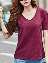 cheap -Women's Daily Casual Spring Summer T-shirt,Solid Round Neck Short Sleeve Cotton Medium