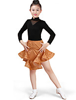 cheap -Latin Dance Outfits Children's Performance Cotton Pattern/Print Ruching Long Sleeve High Skirts Leotard