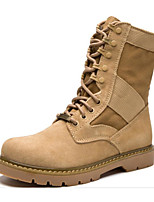 cheap -Men's Shoes Cowhide Winter Fall Combat Boots Comfort Boots Mid-Calf Boots for Casual Camel
