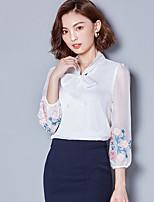 cheap -Women's Daily Vintage Blouse,Geometric V Neck Long Sleeve Polyester