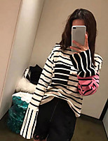 cheap -Women's Daily Casual T-shirt,Striped Round Neck Long Sleeve Polyester