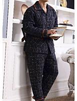 abordables -Costumes Pyjamas Homme,Rayé Opaque Coton Bleu Marine