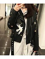 Недорогие -Для женщин Повседневные Зима Кожаные куртки Круглый вырез,На каждый день Однотонный Обычная Короткие рукава,Хлопок Акрил,Плиссировка