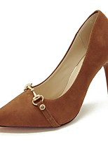 preiswerte -Damen Schuhe Wildleder Frühling Herbst Komfort High Heels Stöckelabsatz Spitze Zehe für Normal Schwarz Braun Mandelfarben