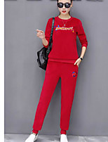 cheap -Women's Casual/Daily Simple Winter Fall Hoodie Pant Suits,Others Round Neck Long Sleeves Polyester