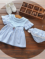 cheap -Baby Girl's Daily Striped Dress, Cotton Cute Short Sleeves Blue Blushing Pink Yellow