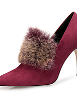 cheap -Women's Shoes Feather/ Fur Flocking Winter Fall Fashion Boots Boots Stiletto Heel Pointed Toe Feather for Dress Party & Evening Black